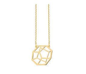 Srebrny naszyjnik damski pr.925 - styl sześcian Origami pozłacany