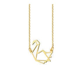 Srebrny naszyjnik pr.925 - sztuka Origami łabędź pozłacany