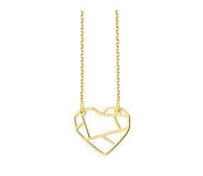 Srebrny naszyjnik pr.925 - Origami serce pozłacane