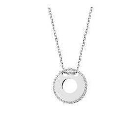 Srebrny naszyjnik pr.925 z diamentowaną okrągłą ozdobną zawieszką