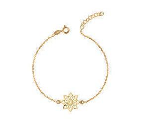 Srebrna bransoletka pr.925 ażurowy kwiatek zawieszka - pozłacana