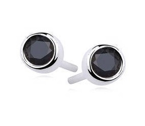 Srebrne kolczyki okrągłe pr.925 Cyrkonia czarna