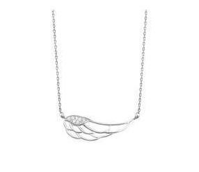 Srebrny naszyjnik pr.925 skrzydło z cyrkoniamii