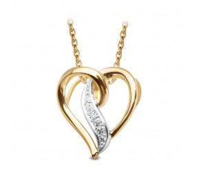 Staviori Wisiorek Serce z Diamentami ze złota pr.0,585. 1 Diament, szlif achtkant, masa 0,007 ct.,