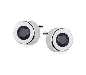 Srebrne okrągłe kolczyki pr.925 Cyrkonia czarna