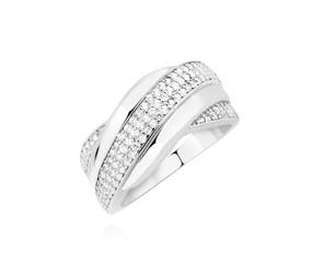 Srebrny pierścionek duży pr.925 zdobiony białymi cyrkoniami