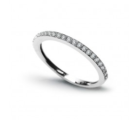 Staviori Obrączka z Białego Złota 0,585, 25 Diamentów, szlif brylantowy