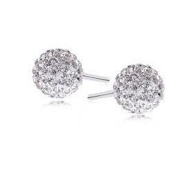 Kolczyki kulki 6mm białe, crystal beads
