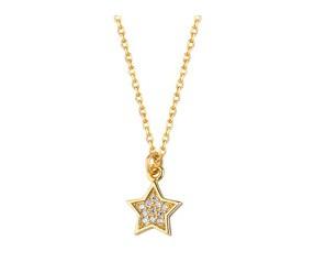 Srebrny naszyjnik pr.925 gwiazdka z cyrkoniami, pozłacany