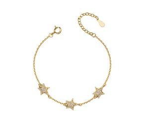 Srebrna pr.925 bransoletka z gwiazdkami i cyrkoniami, pozłacane