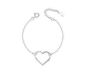 Srebrna pr.925 bransoletka serce na łańcuszku