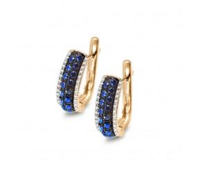 Staviori Kolczyki Złote pr. 0,585 z diamentami i szafirami