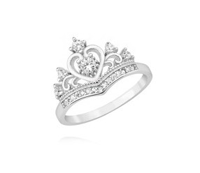 Srebrny pierścionek pr.925 ozdobna korona z cyrkoniami