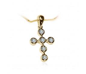 Staviori Krzyżyk. 6 Diamentów, szlif brylantowy, masa 0,18 ct., barwa G, czystość SI1-SI2. Żółte Złoto 0,585.