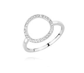 Srebrny pierścionek koło pr.925 z cyrkoniami