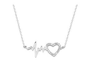Srebrny naszyjnik pr.925 zawieszka puls i serce z cyrkoniami