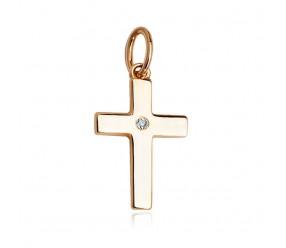 Staviori Klasyczny Krzyżyk ze Złota pr.585 z Diamentem, szlif brylantowy, masa 0,005 ct., barwa H, czystość I2
