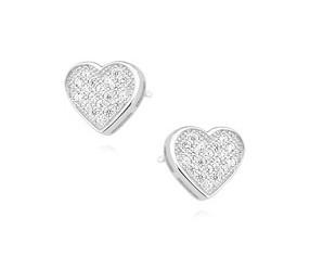 Srebrne kolczyki pr. 925 serca z cyrkoniami