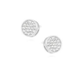 Srebrne kolczyki pr. 925 okrągłe z cyrkoniami