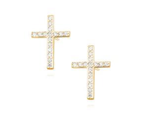 Srebrne kolczyki pozłacane pr. 925 z cyrkoniami - krzyżyki