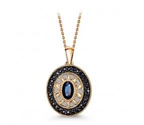 Staviori Wisiorek. 10 Diamentów, szlif achtkant, masa 0,03 ct., barwa H, czystość SI1-I1. 29 Szafirów, masa 1,00 ct.. Żółte Złoto 0,585. Wysokość 20 mm.