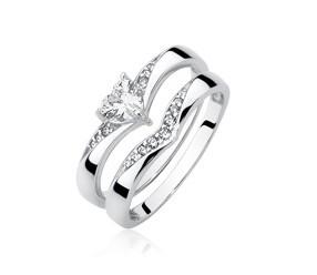 Srebrny pierścionek podwójny pr.925 z cyrkoniami - serce