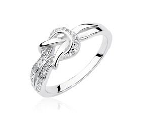 Srebrny pierścionek pr.925 z cyrkoniami - węzeł
