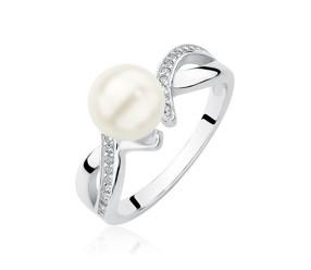 Srebrny pierścionek pr.925 z cyrkoniami i perłą