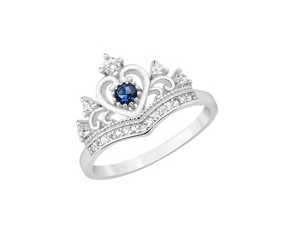 Srebrny pierścionek pr.925 korona z cyrkoniami, niebieskie oczko