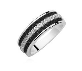 Srebrny pierścionek pr.925 cyrkonie białe i czarne