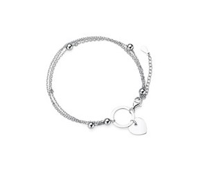 Srebrna pr.925 bransoletka serce i okrąg