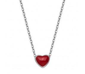 Staviori Naszyjnik srebrny z Emaliowanym czerwonym sercem