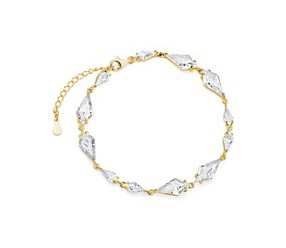 bransoletka ślubna srebrna, stylowa, pr.925 z cyrkoniami, pozłacana