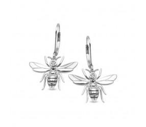 Staviori Kolczyki Pszczółki. Cyrkonia. Srebro rodowane 0,925