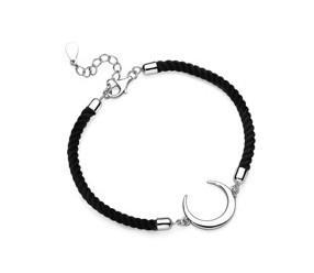 Srebrna pr.925 bransoletka z czarnym sznurkiem - półksięzyc