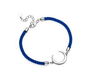 Srebrna pr.925 bransoletka z niebieskim sznurkiem - półksięzyc