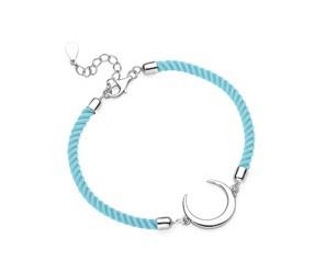 Srebrna pr.925 bransoletka z jasnoniebieskim sznurkiem - półksięzyc