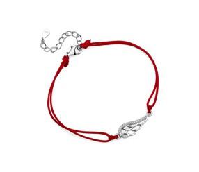 Srebrna pr.925 bransoletka z czerwonym sznurkiem - skrzydło z cyrkoniami