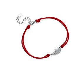 Srebrna pr.925 bransoletka z czerwonym sznurkiem - pełne skrzydło z cyrkoniami