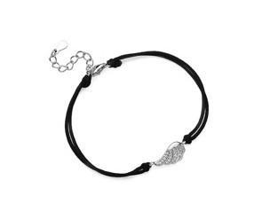 Srebrna pr.925 bransoletka z czarnym sznurkiem - pełne skrzydło z cyrkoniami
