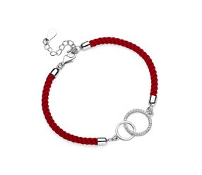 Srebrna pr.925 bransoletka z czerwonym sznurkiem - dwa kółka z cyrkoniami