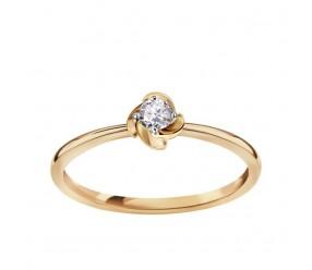Staviori Pierścionek. 1 Diament, szlif brylantowy, masa 0,10 ct., barwa H, czystość I1. Żółte Złoto 0,585.