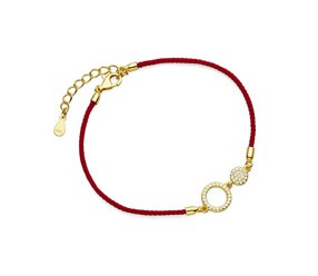 Srebrna pr.925 bransoletka z czerwonym sznurkiem - kółka z cyrkoniami pozłacana