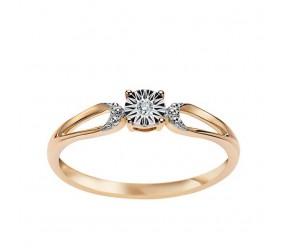 Staviori Pierścionek. 1 Diament, szlif brylantowy, masa 0,01 ct., barwa H, czystość SI1-SI2. Żółte, Białe Złoto 0,585.