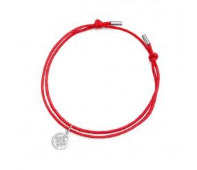 Staviori Bransoletka czerwony sznurek i kółko 20cm. Cyrkonia. Srebro 0.925. Średnica 10 mm.  Długość regulowana dowolnie.