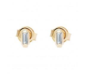 Staviori Kolczyki prostokąty. 2 Diamenty, szlif bagieta, masa 0,10 ct., barwa H, czystość VS1-VS2. Żółte Złoto 0,585. Wymiary 5x2 mm