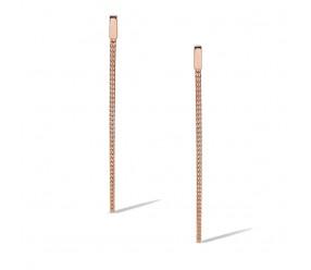 Staviori Kolczyki Srebrne wiszące łańcuszki linki 0,925.długość 60mm, pozłacane różowym złotem