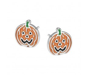 Staviori Kolczyki dynie na halloween, Diament Surowy. Srebro rodowane 0,925. Średnica 10 mm