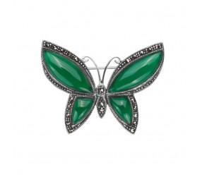 Staviori Broszka Motyl zielony Agat. Markazyty. Srebro 0,925. Wysokość 35 mm.