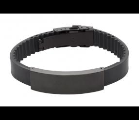 bransoletka magnetyczna 1056-3 kauczukowa czarna stal nierdzewna